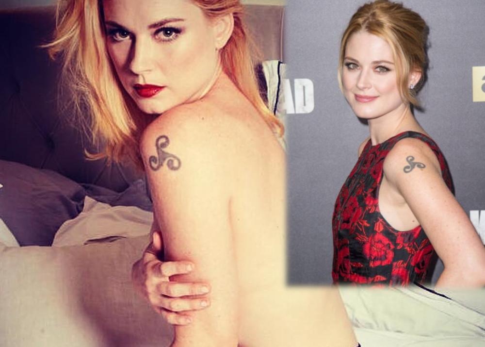 Alexandra Breckenridge shoulder swirl tattoo