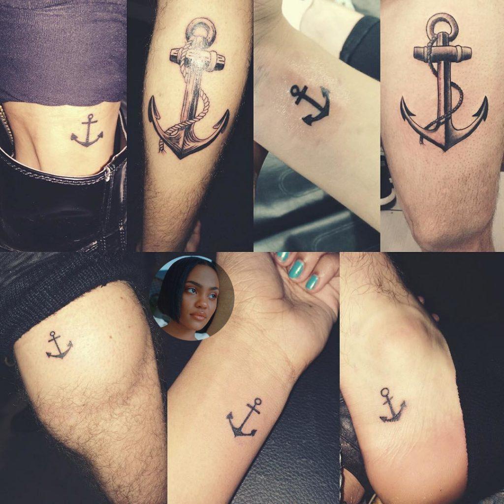 China Anne McClain matching tattoos anchors