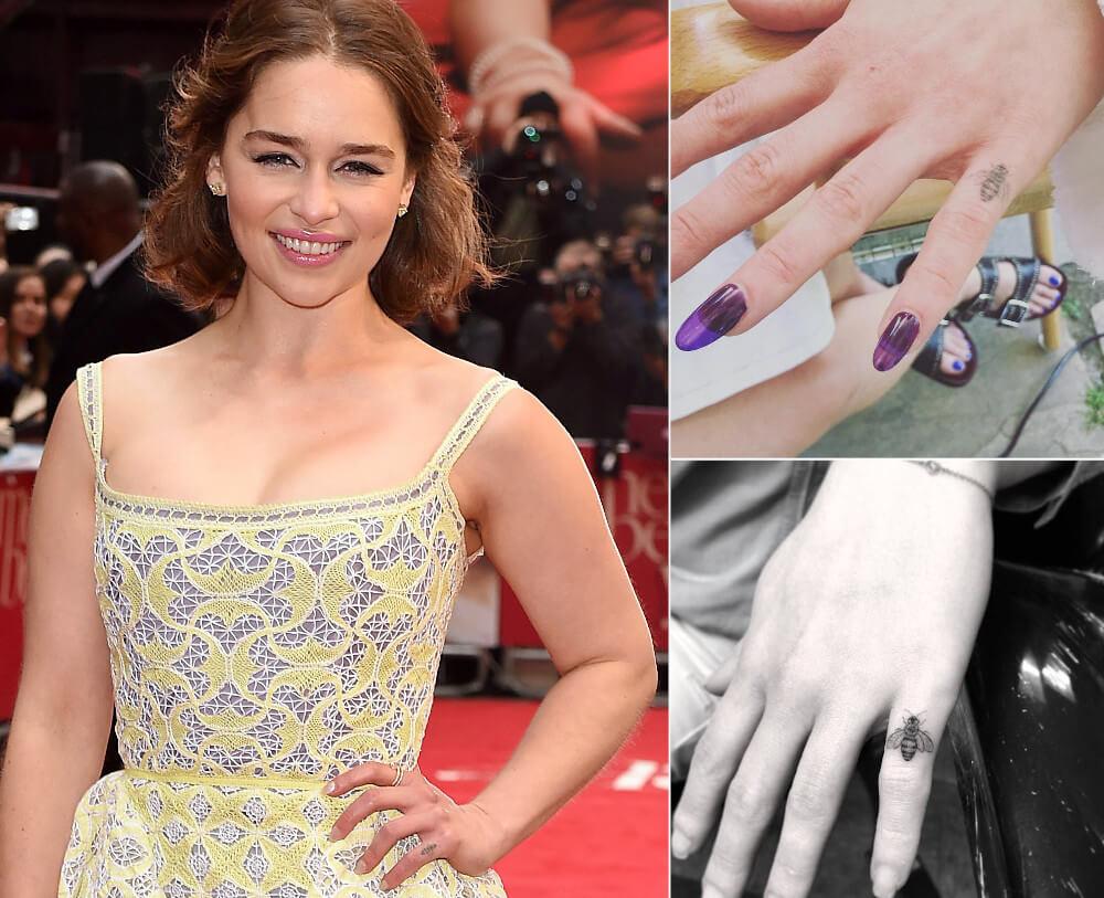Emilia Clarke finger bee tattoo