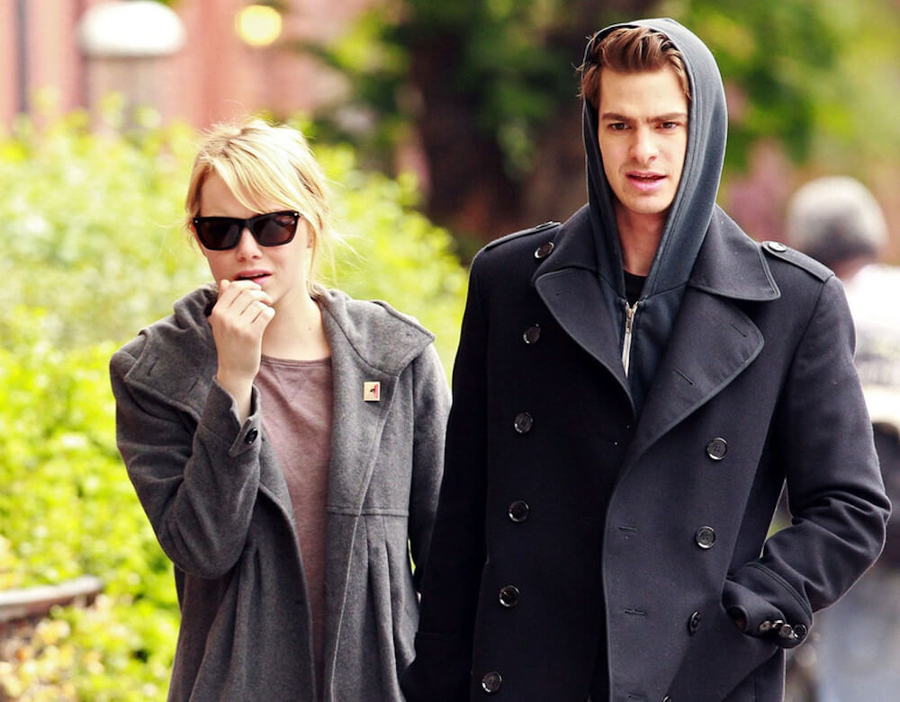 Emma Stone and ex boyfriend Andrew Garfield walking