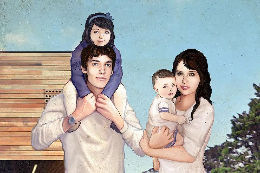 Felicity Jones, Ed Fornieles, three children portrait