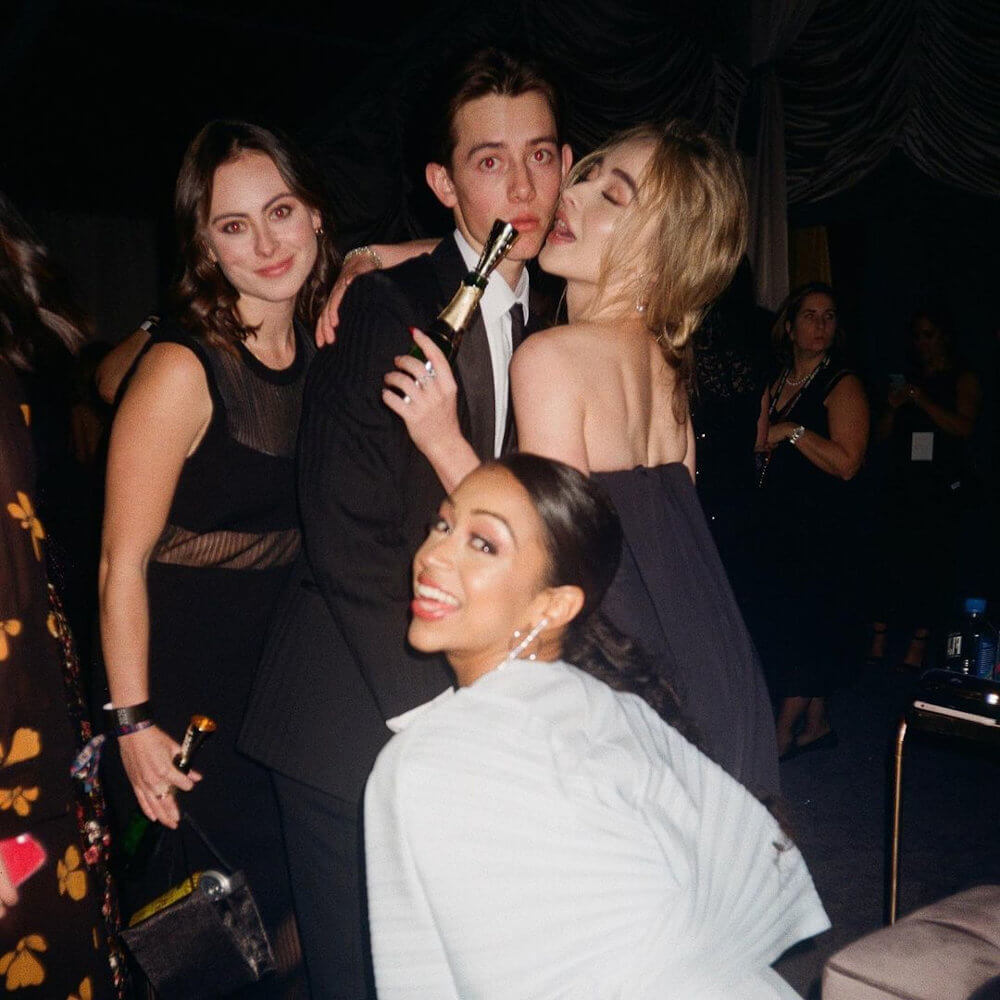 Griffin Gluck and Sabrina Carpenter globes after party
