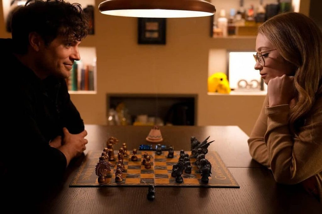 Henry Cavill with current girlfriend Natalie Viscuso Chess playing chess