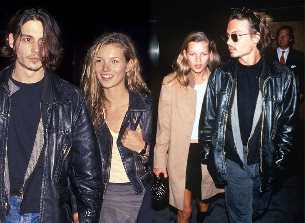 Johnny Depp and ex girlfriend Kate Moss