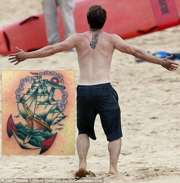 Josh Hutcherson Back Tattoo