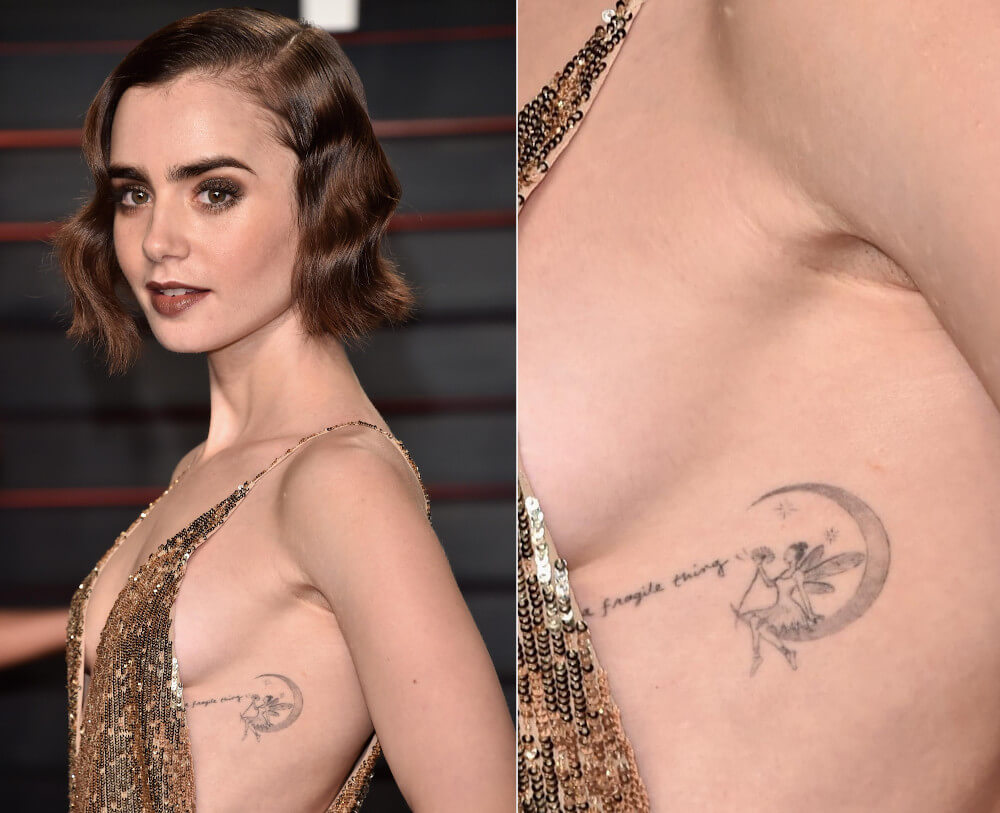 Lily Collins side ribs lily tattoo