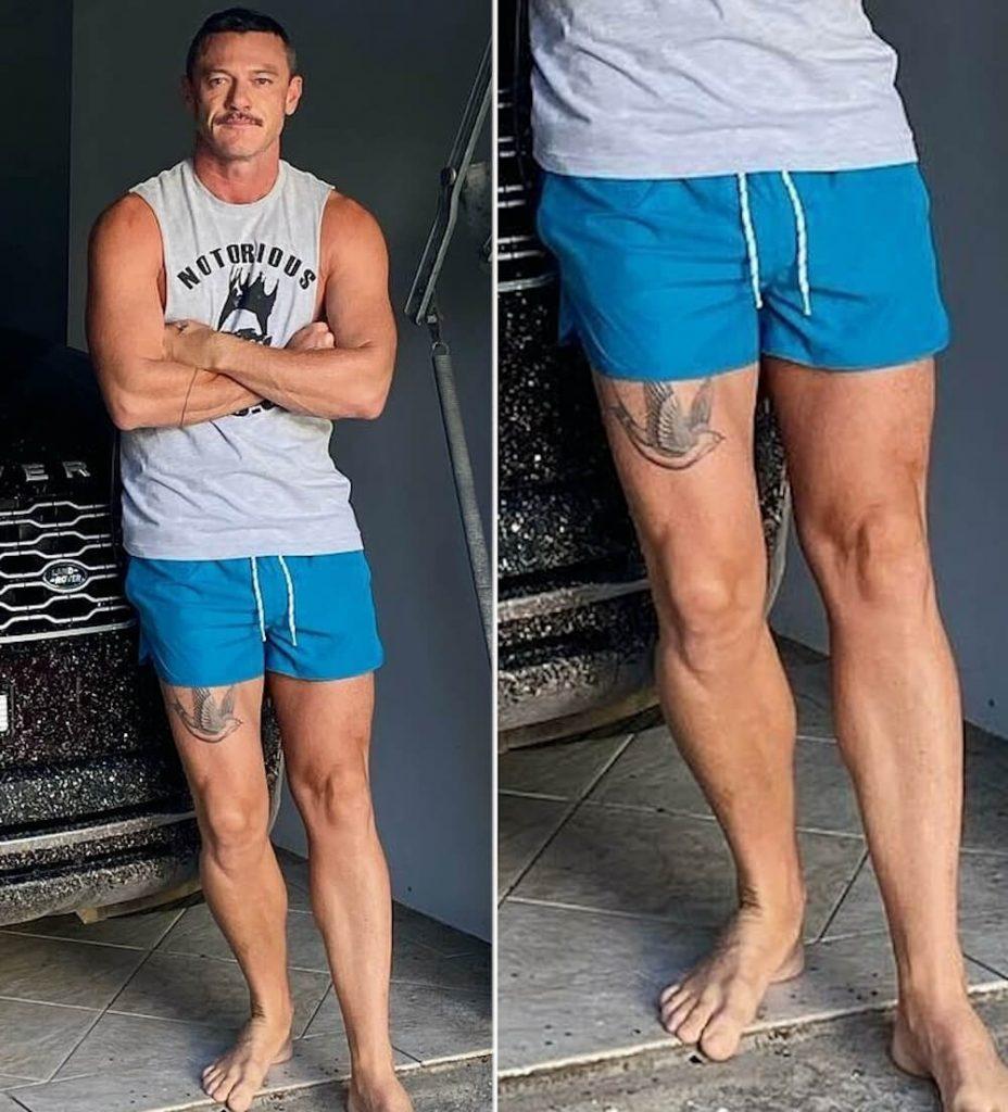 Luke Evans New bird tattoo on his upper thigh