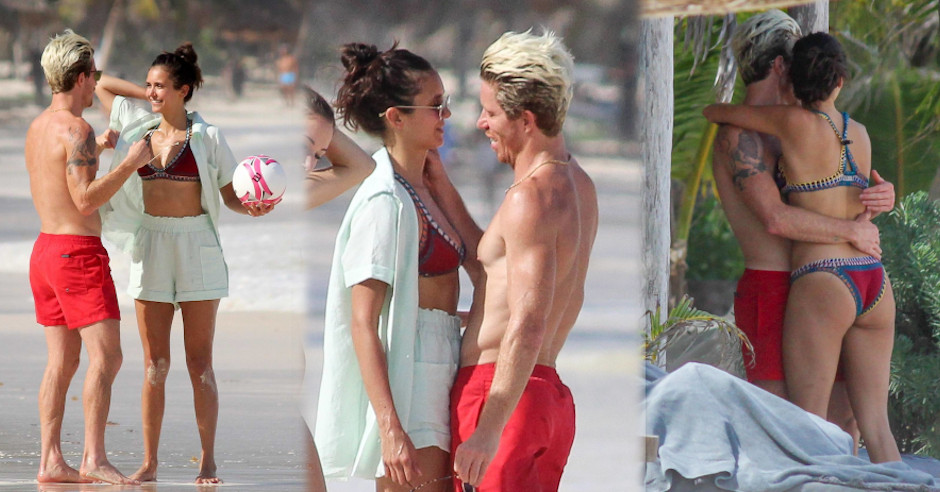 Nina Dobrev and Shaun White in mexico holidays