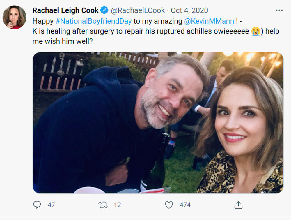 Rachael Leigh Cook and Kevin twitter