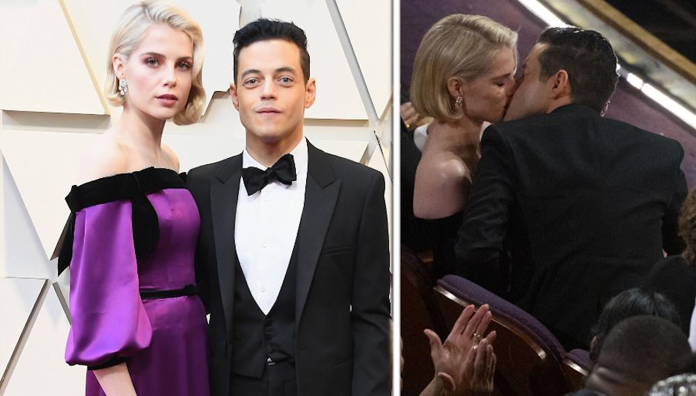 Rami Malek and Lucy Boynton kiss oscars 2019