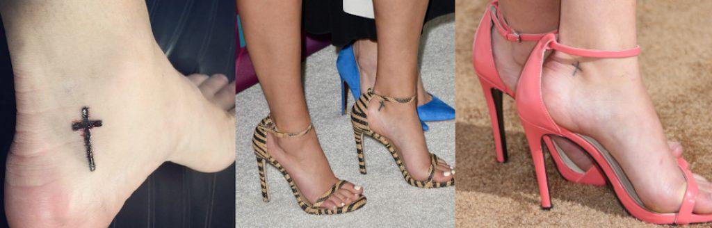 Sasha Pieterse Cross Tattoo on her foot