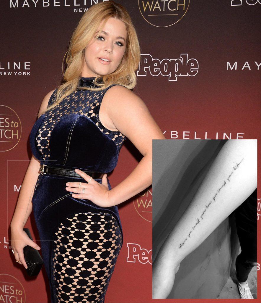Sasha Pieterse Writing Tattoo on her forearm
