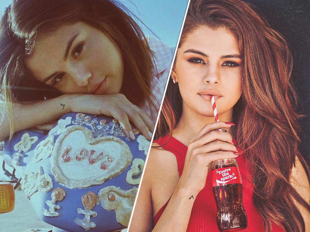 Selena Gomez music note tattoo on her wrist